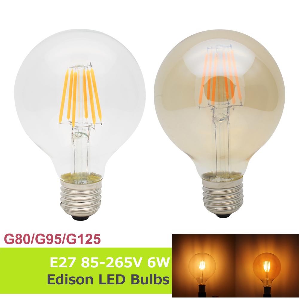 G80/G95/G125 Golden Edison Retro Filament LED Bulbs 6W 110V/220V E27 85-265V Lamp Antique Candle Light Vintage Energy Saving(China (Mainland))