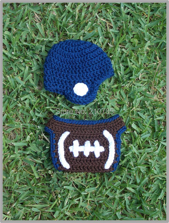 Free shipping Crochet Baby Football Helmet and Diaper Cover Set Newborn Photo Prop(China (Mainland))