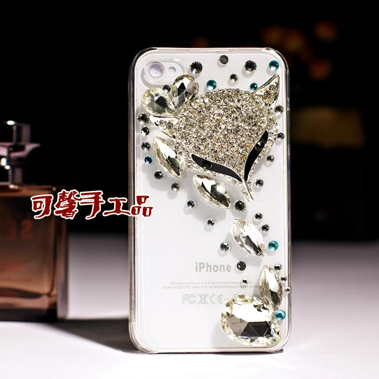 Flowers 3D Handmade bling Cover Case DIY Diamond Rhinestone Crystal Hard Back Skin Cover for iPhone 4G cell phone Case(China (Mainland))