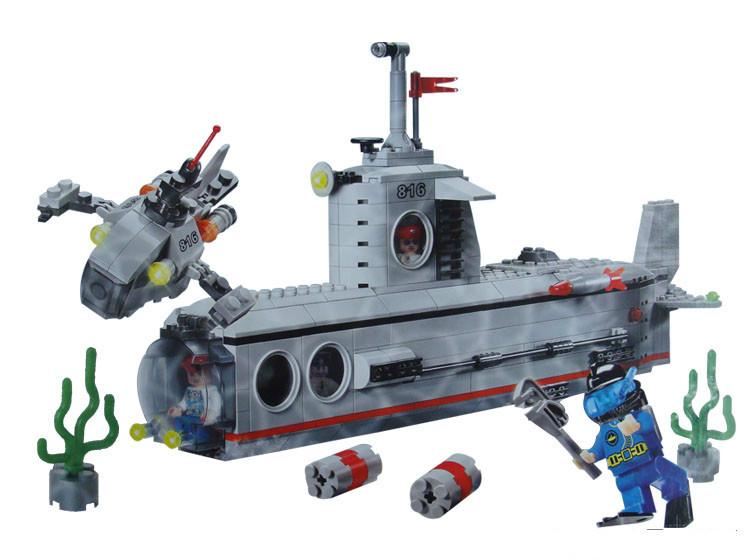 Enlighten Military Series Submarine Model Building Blocks Sets Minifigures Educational Construction bricks Compatible Lego