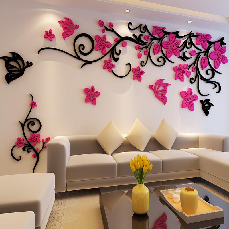Декор стены объемными цветами