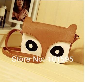2013 New Women Ladies Fashion Owl Fox PU Handbags cartoon animal print bags Messenger Bags Cute School Tote Retro Shoulder Bag