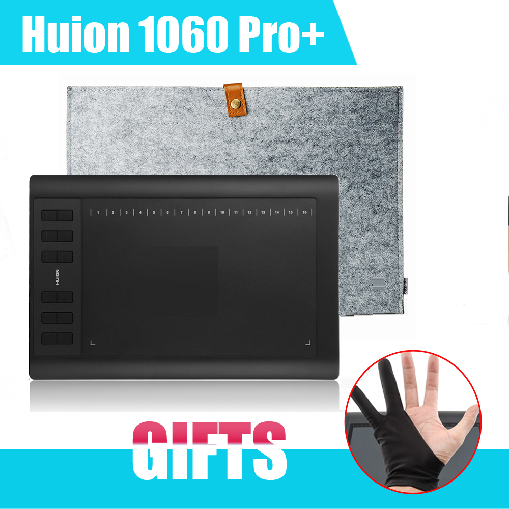 Original Original Huion 1060 Pro+ Graphic Drawing Tablet Board Pad + Wool Liner Bag for MACbook + Anti-fouling Glove (Gift)<br><br>Aliexpress