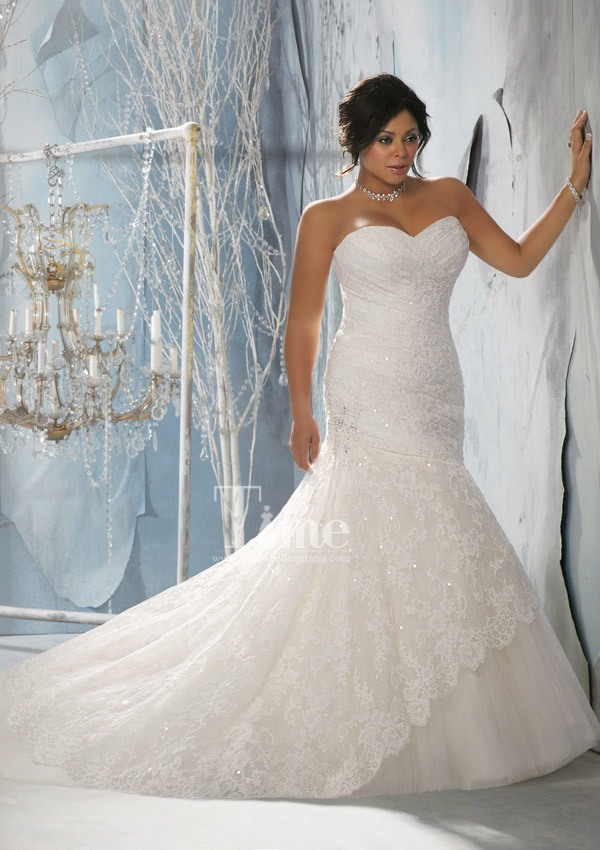 Unique mermaid sweetheart plus size wedding dresses 2014 for Unique wedding dress styles