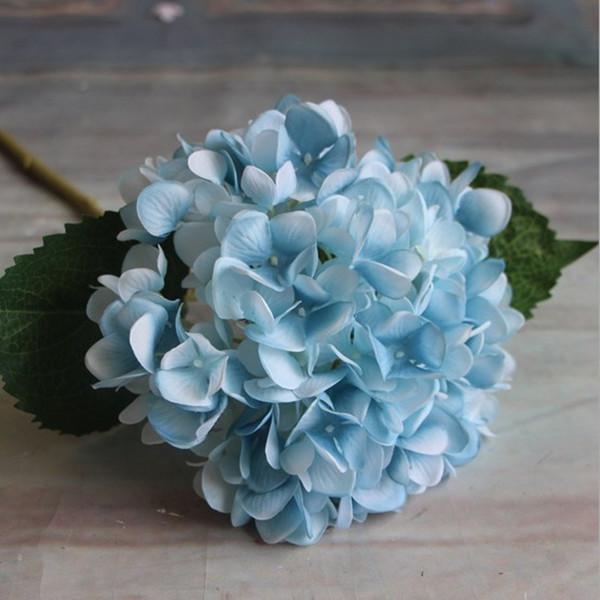 Flower Hydrangea Artificial Plant Silk Adornment Home Wedding Garden Party Blue