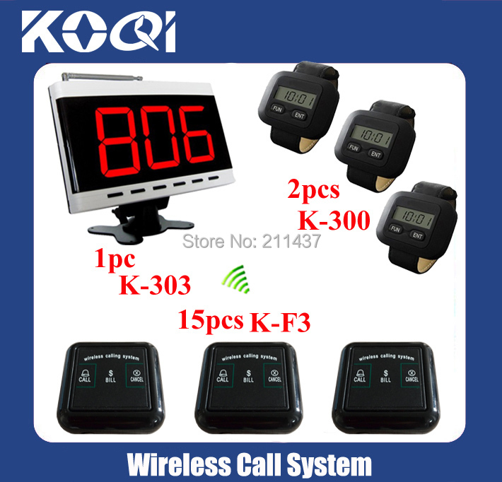 433.92MHZ DHL free shipping 2pcs K-300+15pcs K-F3 call button+ 1pc K-303 Communication System for Restaurant(China (Mainland))