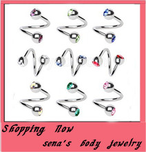 Buy 16g nose rings big wholesale free 500pcs/lot mix10color stainless steel crystal spiral nose bar body jewelry for $70.03 in AliExpress store