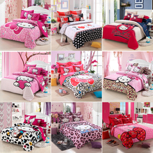 Home textiles bedclothes,Child Cartoon pattern,Hello kitty bedding sets include duvet cover bed sheet pillowcase,FreeshippingBS1(China (Mainland))
