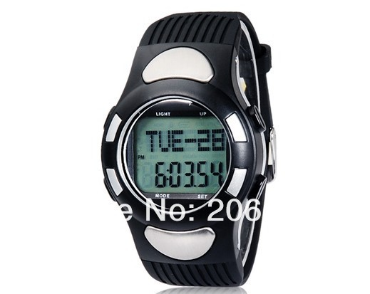 New 1005 Round Dial Digital Display TPU Rubber Watch with Pedometer, Heart Rate Monitor+free shipping<br><br>Aliexpress