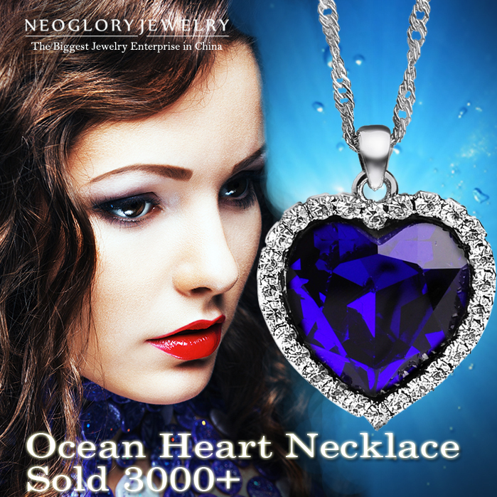 Neoglory Titanic Ocean Heart Necklaces Pendants For Women Crystal Rhinestone Jewelry Accessories Gift Sale 2015 New
