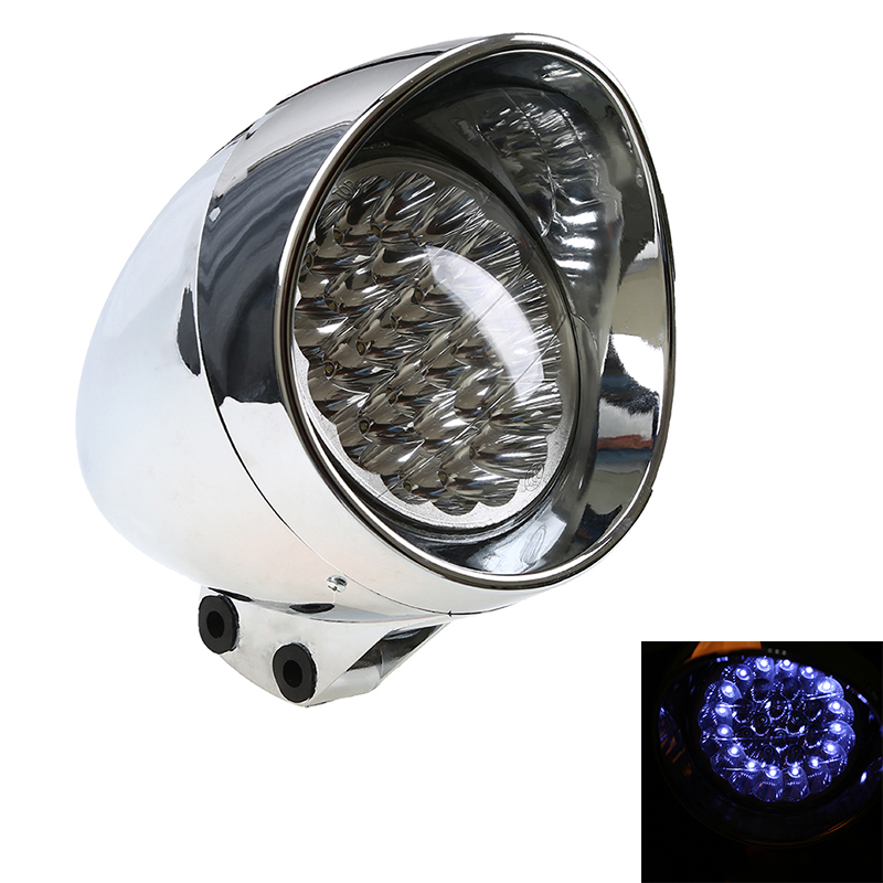 POSSBAY Chrome Blue LED Motorcycle Bullet Chrome Headlight Light Lamp For Harley Bobber Chopper Softail Springer Custom Classic(China (Mainland))