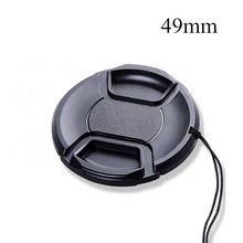 49mm Black Plastic Center Pinch Snap-on Cap Cover Without LOGO +Anti-lost Rope for Canon Sony Nikon 49 mm Camera Lens