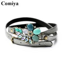 Comiya Fashion green flower long leather pu vintage wrap Bracelet Lace-up bracelets & bangles acrylic jewelry for women cc(China (Mainland))