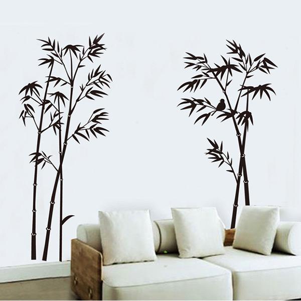 [해외]검은 대나무 모양의 벽 스티커 벽화 공예 예술 홈 거실 장식..