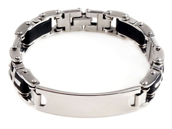 New-Men-s-High-Quality-Stainless-Steel-Bracelet-Silver-Link-Black-Rubber-Bangle (8)