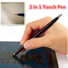 2 in 1 Mini Metal Capacitive Universal Tablets Touch Stylus Pen Can Write Ball Pen For Apple iPhone 5 6 6s 7 Laptop Ballpoint(China (Mainland))