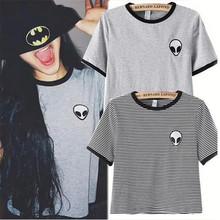 Alisister new fashion Embroidery Tee Shirt Aliens T Shirt Women Short Sleeve Comfortable Female Students T-shirts camiseta(China (Mainland))