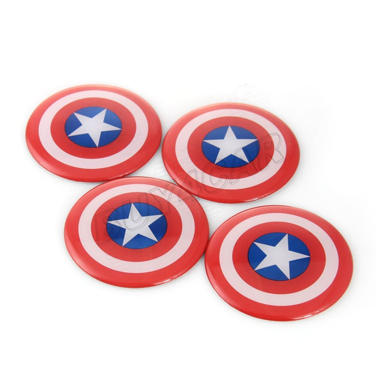 4x 60mm Captain America 3 Civil War Logo Car Auto Steering Wheel Tire Center Hub Cap Emblem Decal Badge Symbol Stickers(China (Mainland))