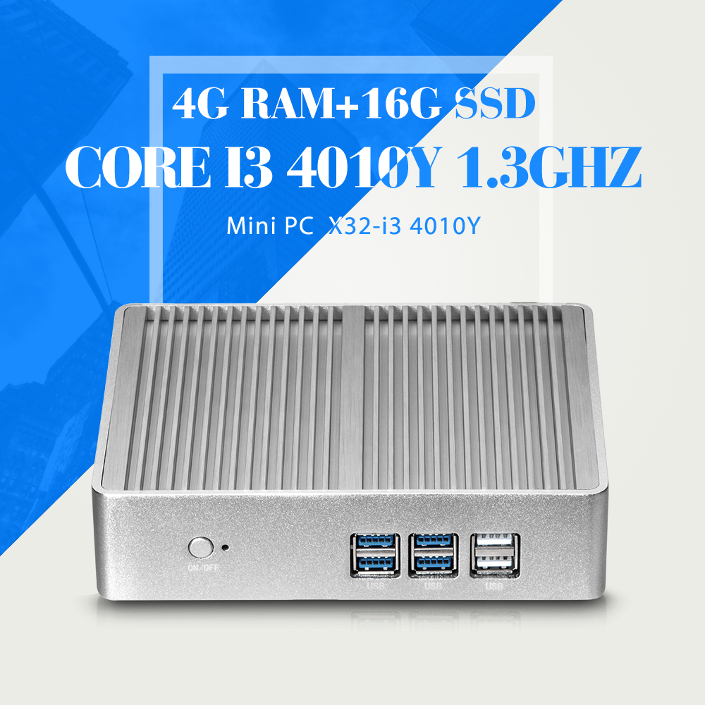 Ultra Low Power I3 4010Y 4G RAM 16G SSD Desktop PC Case Fanless Industrial Computer Thin Client PC Wifi Support MIC(China (Mainland))