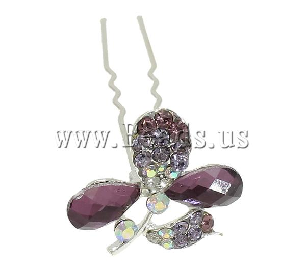 Free shipping!!!Zinc Alloy Hair Stick,Lovely Jewelry, with Glass, Flower, silver color plated, with rhinestone, mixed colors(China (Mainland))