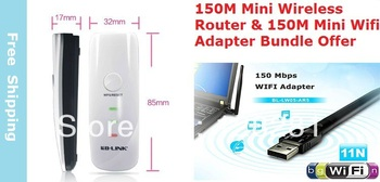Bundle Offer/B-LINK 150Mbps Portable wireless partners Mini Wireless Router signal amplifier,AP & 150M Mini Wireless Adapter