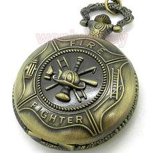 Bronze Fire Fighter Control Quartz Vintage Pocket Watch Necklace Pendant Men Gift P106(China (Mainland))