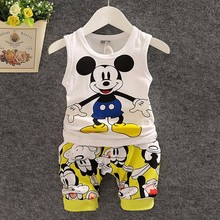 2015 New Summer Baby Boy Clothing Set Sleeveless Shirt Shorts Kid clothing set Boy Summer Mickey