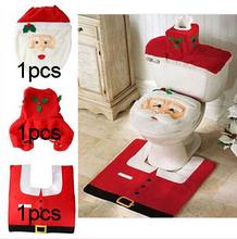 2015 Hot 1 lote fantasía de Santa tapa del inodoro y alfombra de baño conjunto contorno alfombra Navidad decoraciones para Natal Navidad Decoracion(China (Mainland))