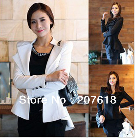 Women Coat One Button Blazer & Suits Casual Lapel Tuxedo Jacket Ladies dress tailcoat Outerwear