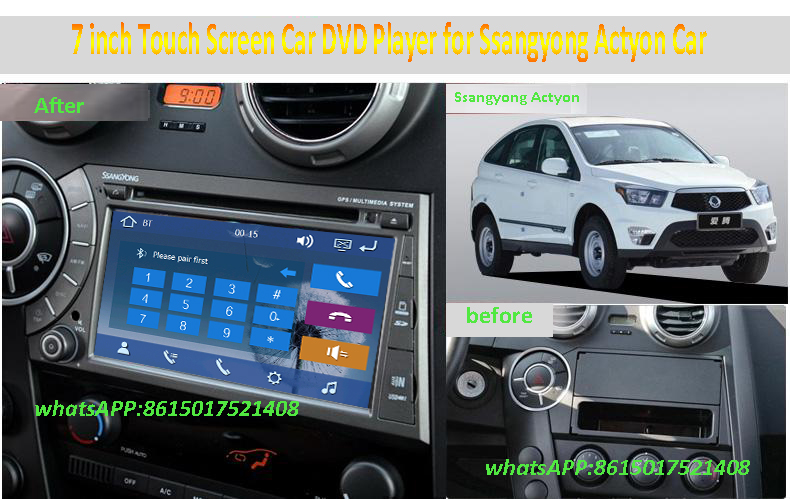 7 inch Car DVD Player with FM/AM Radio RDS GPS Navigation Bluetooth TV BT Ipod for Ssangyong Kyron Actyon Support Rear Camera(China (Mainland))