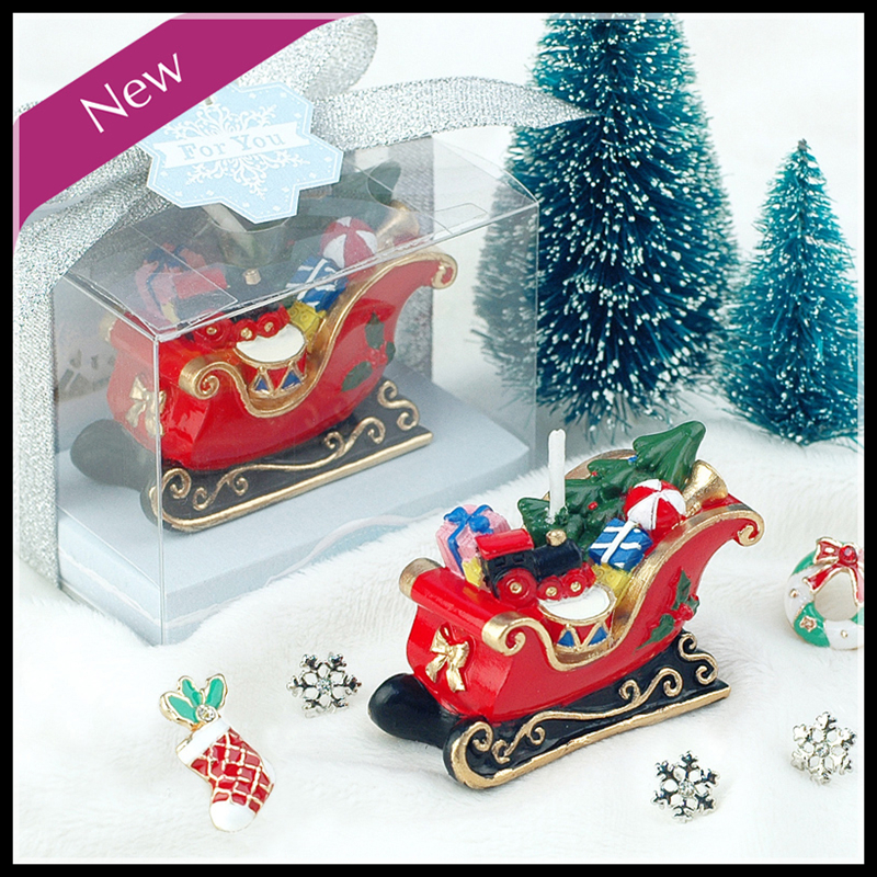 2016 New Sled Candle Small Gifts for Kids Party Xmas Gifts Christmas Candle Decorative Candles Mini Candles(China (Mainland))