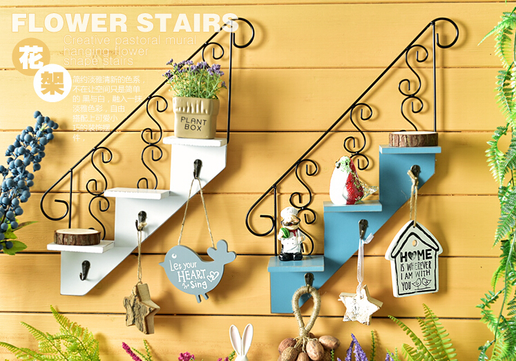 2016 American style creative new rural idyll stairs cafe clothing shop wall decorations hanging shelf(China (Mainland))