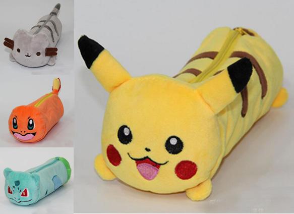 Japanese Anime Pokemon Go pusheen fat cat Pencil Holder Boys Girls School Case Sans Kids Cartoon Bag Children Plush Doll Cases(China (Mainland))
