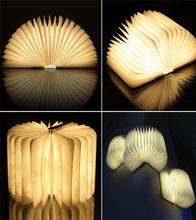 Excelvan 2015 novità di legno pieghevole led night light lampada led pieghevole ricaricabile pieghevole libro nightlight luminaria porta usb(China (Mainland))