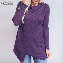 Buy ZANZEA Women Blouses Shirts 2017 Autumn Blusas Long Sleeve O Neck Fashion Cardigan Solid Asymmetrical Tops Loose Plus Size S-5XL for $8.71 in AliExpress store