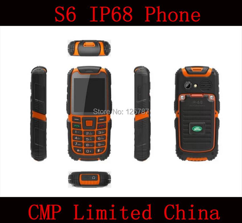 S6 IP68 Rugged Waterproof Dustproof Shockproof 2.4 Inch Dual Sim Card 2400mAh Big Battery Bluetooth Mobile Phone(China (Mainland))