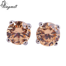 lingmei Wedding Dazzling Style Unisex Forever Love Morganite  Stud Silver Earrings Fashion Jewelry Wholesale(China (Mainland))