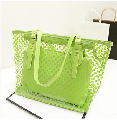 Transparent polka dot handbag large bag women's multi-purpose bag jelly beach bag shoulder bag Z117(China (Mainland))