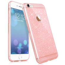 I6210 I6210 Hot!pink color phone case For iphone 6 6S mobile phone accessories TPU soft shining golden Bling cover For apple