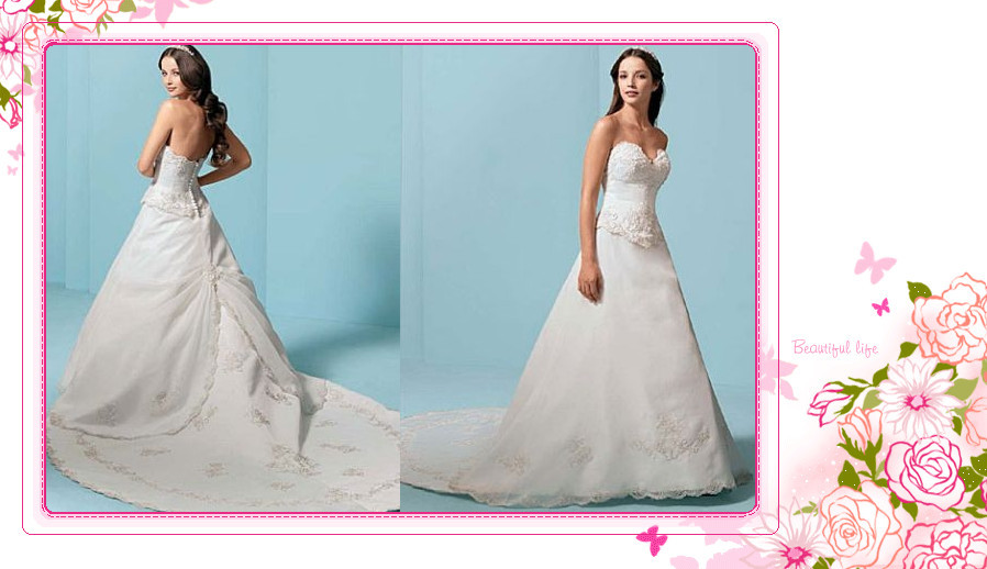Hote sale Fashion Wedding gown Empire Sweetheart Hi-Lo Cathedral Applique Taffeta Standard code(China (Mainland))
