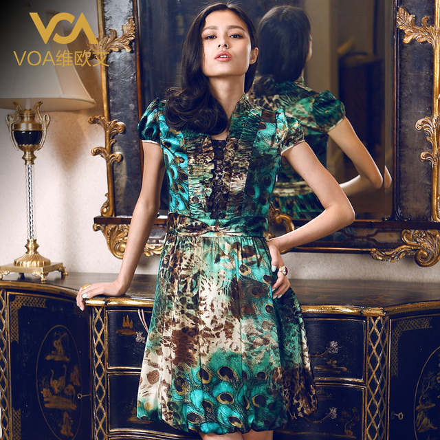 Voa silk one-piece dress silk women's fashion V-neck mulberry silk female skirt a004