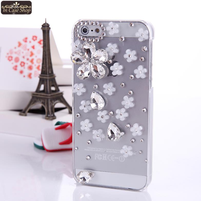 Fashion Sakura Star Cell Phone Cover Case for Apple Iphone 5 5s 4 4s 3D Bumper DIY Luxury Rhinestone Original Gift A115801(China (Mainland))
