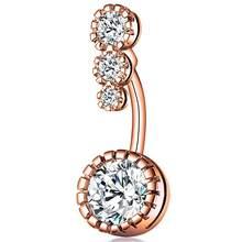 1pc ליידי אופנה פלדה כירורגית טבעת חמוד קריסטל להתנדנד בטן טבעת בר טבור בטן פירסינג טבור תכשיטים(China)