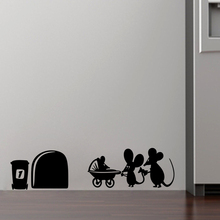 family baby mouse hole wall stickers for kids rooms decals vinyl wall art decoration home vintage mural Christmas Decoration(China (Mainland))