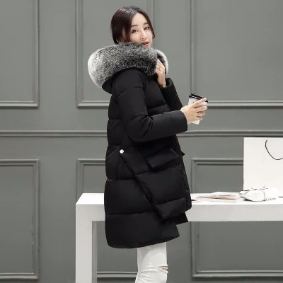 2016 New  Winter Long Slim Girls Down Cotton A Coat Cloak  Thick Hooded Parks Jacket Coat Female Big Wool Collar Outwear CC009