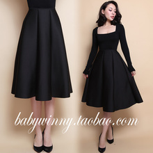 FREE SHIPPING 2016 Spring Autumn New Vintage Street All Match High Waist Knee Length Black Tutu Skirts Women Fashion Clothing