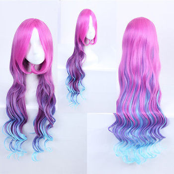 Miss Fortune Sexy Long Red Purple Blue Gradient Wave Cosplay Anime Wig