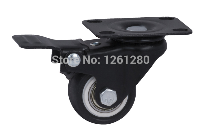 15 peices caster Universal Flat Top wheel with brake furniture hardware caster PU mute caster double bal bearing<br><br>Aliexpress