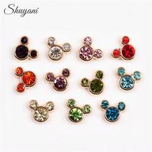 Shuyani 20pcs/lot Mix Minnie Mouse Charms Floating Rhinestone Mickey Charms for Glass Locket DIY Accessories(China (Mainland))