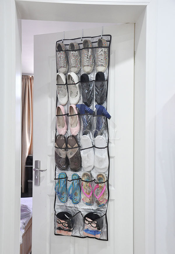 22 Pockets Clear Over Door Hanging Bag Shoe Rack Hanger
